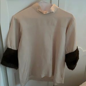 Zara Women's Shirt with Faux Fur Sleeves | Size S